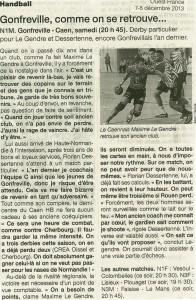 Gonfreville - Caen HB N1M 08.12.13