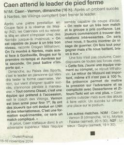 Caen vendredi 15 nov 14